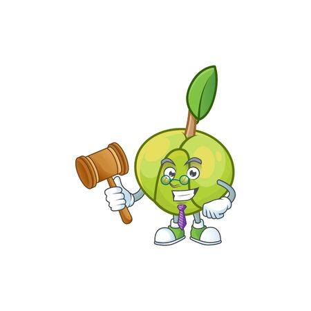 Judge fruit elephant apple cartoon mascot style Ilustracja