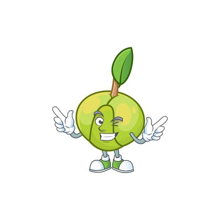 Wink sweet elephant apple cartoon with mascot