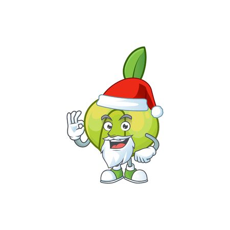 Santa fruit elephant apple cartoon mascot style  イラスト・ベクター素材