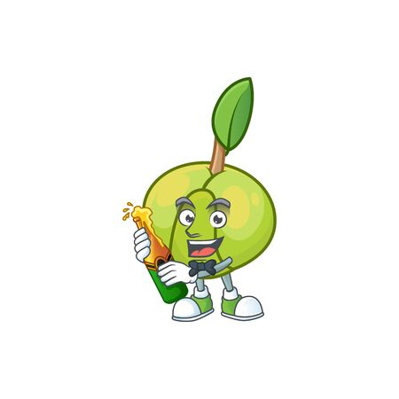 With beer fruit elephant apple cartoon mascot style
