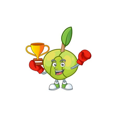 Boxing winner fruit elephant apple cartoon mascot style