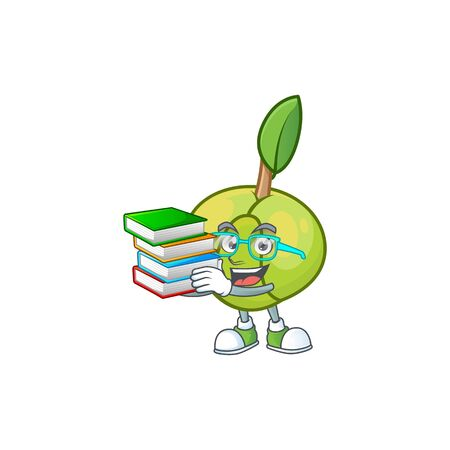 Student with book fruit elephant apple cartoon mascot style Illustration