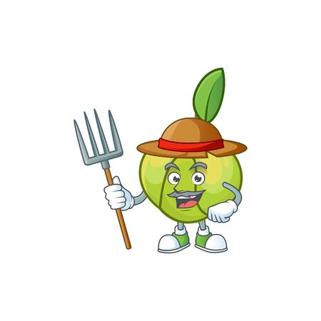 Farmer elephant apple fruit in cartoon character  イラスト・ベクター素材