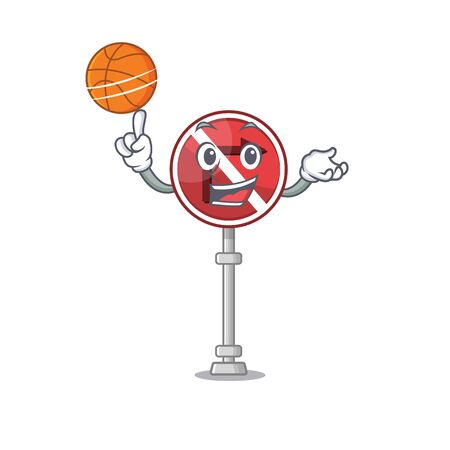 With basketball no right turn isolated with mascot vector illustration Illusztráció