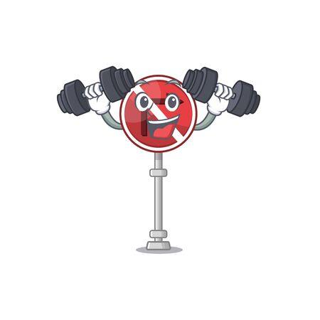Fitness no right turn isolated with mascot vector illustration