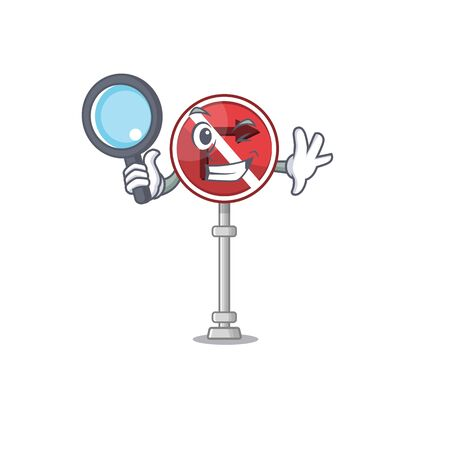 Detective no right turn with cartoon shape vector illustration