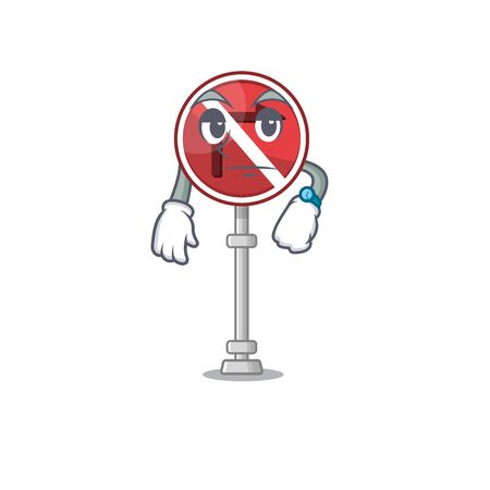 Waiting no right turn in the character vector illustration