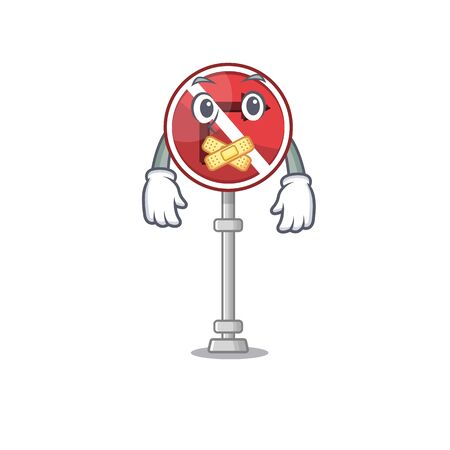 Silent no right turn in the character vector illustration Çizim