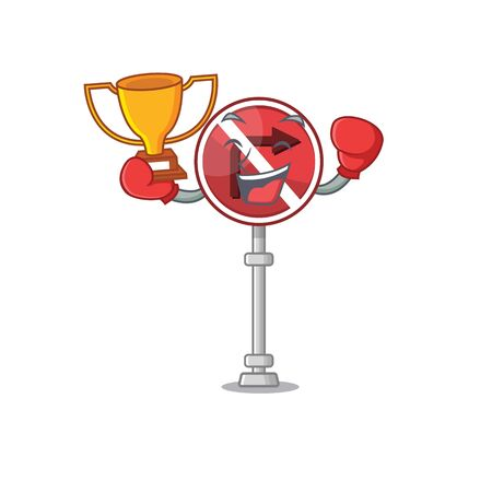 Boxing winner no right turn in the character vector illustration