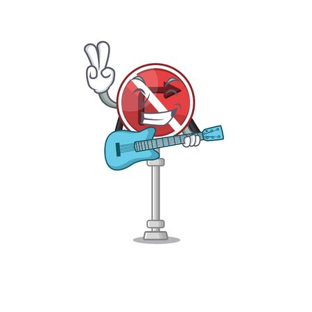 With guitar no right turn with the cartoon vector illustration