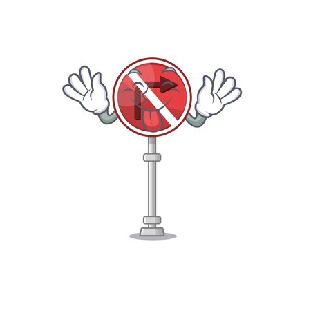 Tongue out no right turn in the character vector illustration Vettoriali