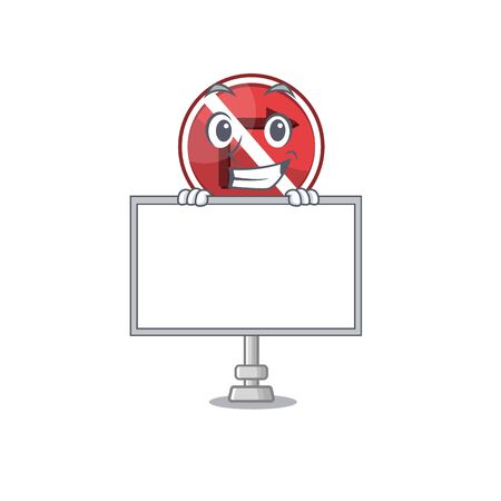 Grinning with board no right turn isolated with mascot vector illustration Ilustração