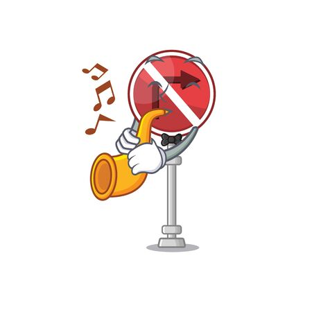 With trumpet no right turn with the cartoon vector illustration