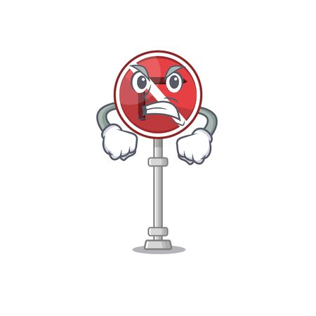 Angry no right turn with the cartoon vector illustration