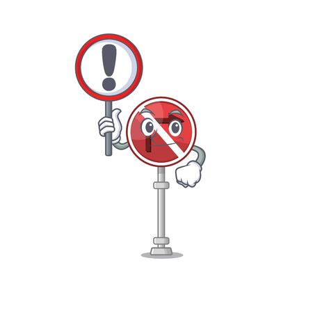 With sign no right turn isolated with mascot vector illustration