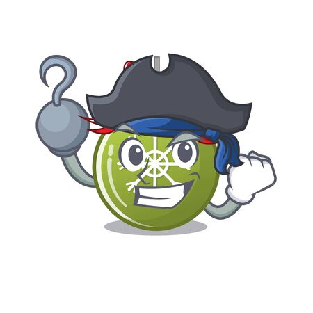 Pirate christmas ball green with the character vector illustration