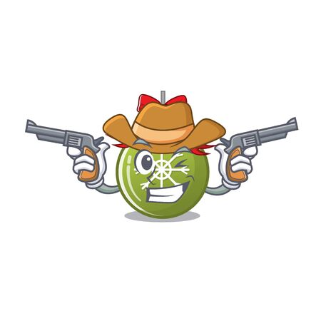 Cowboy christmas ball green with the character vector illustration