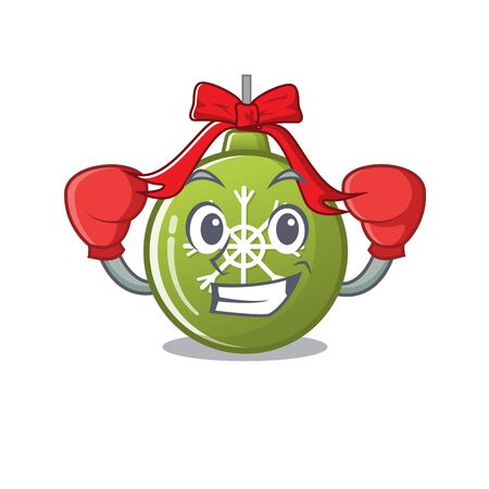Boxing christmas ball green with the character vector illustration Ilustrace