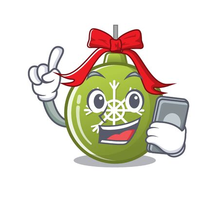 With phone christmas ball green with the character vector illustration