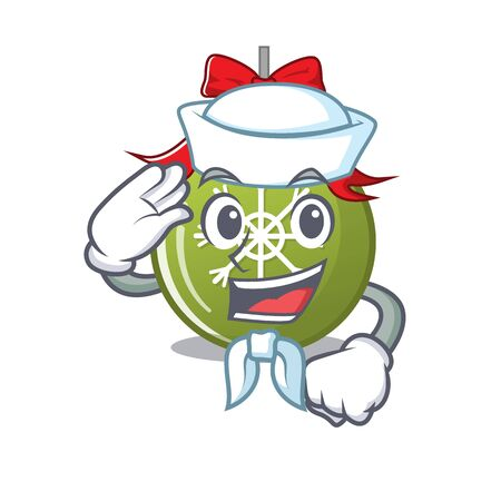 Sailor christmas ball green with the character vector illustration