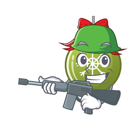 Army christmas ball green with the character vector illustration  イラスト・ベクター素材