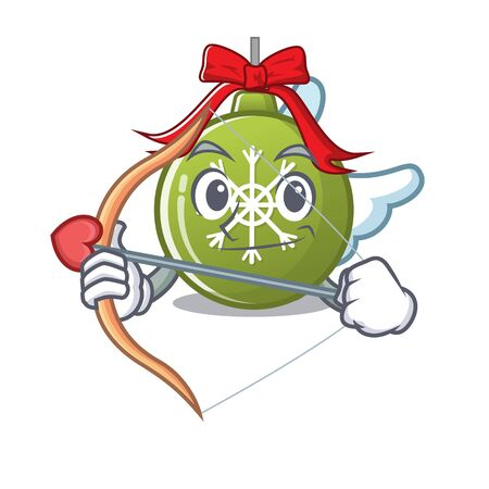 Cupid christmas ball green with the character vector illustration