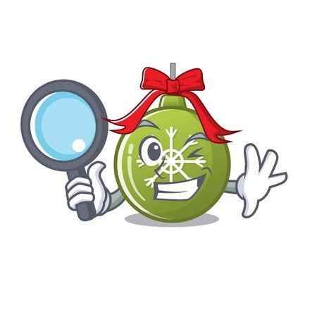 Detective christmas ball green isolated the cartoon vector illustration