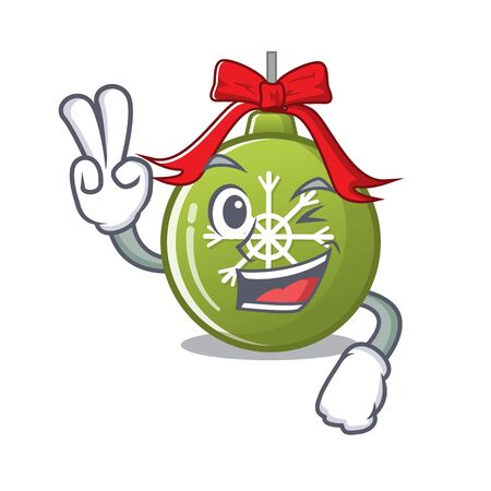 Two finger christmas ball green isolated the cartoon vector illustration Ilustração