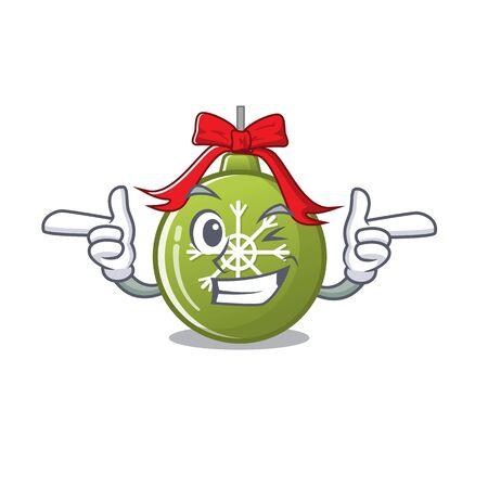 Wink christmas ball green isolated the cartoon vector illustration