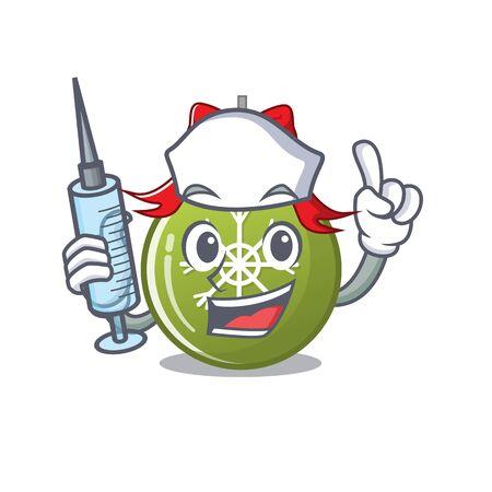 Nurse christmas ball green isolated the cartoon vector illustration Ilustrace