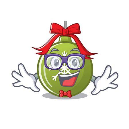 Geek christmas ball green isolated the cartoon vector illustration Illustration