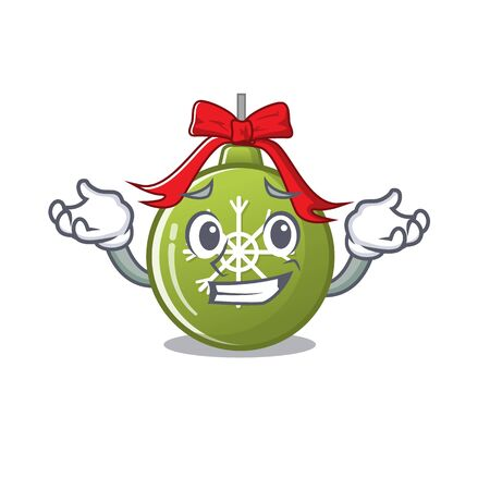 Grinning christmas ball green isolated the cartoon vector illustration