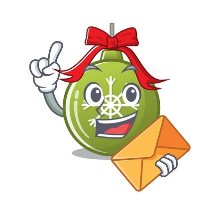 With envelope christmas ball green isolated the cartoon vector illustration