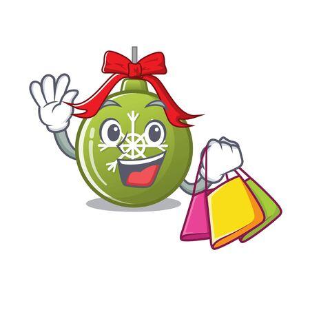 Shopping christmas ball green isolated the cartoon vector illustration