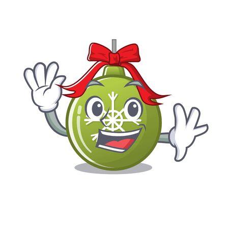 Waving christmas ball green isolated the cartoon vector illustration