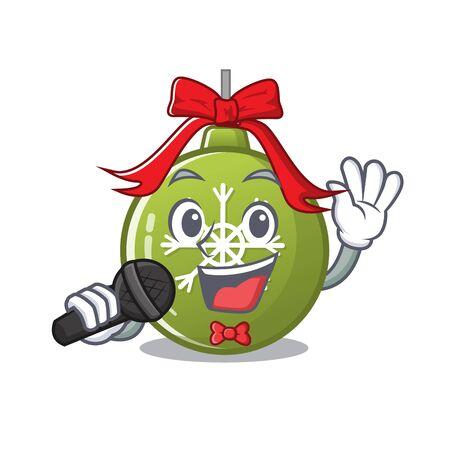 Singing christmas ball green with mascot shape vector illustration
