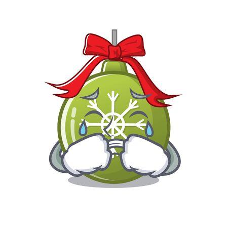 Crying christmas ball green with mascot shape vector illustration  イラスト・ベクター素材