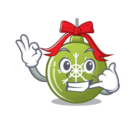 Call me christmas ball green cartoon decorate tree vector illustration