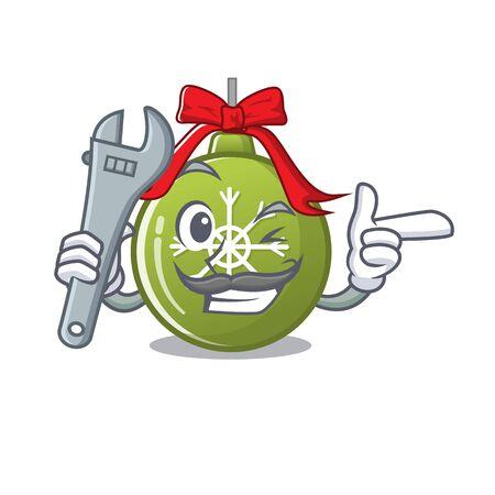 Mechanic christmas ball green cartoon decorate tree vector illustration