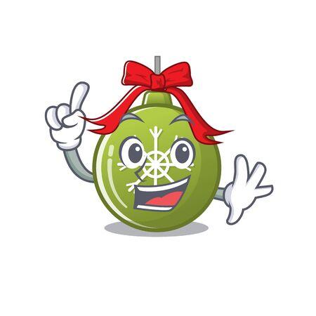 Finger christmas ball green cartoon decorate tree vector illustration Ilustração