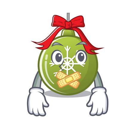 Silent christmas ball green cartoon decorate tree vector illustration