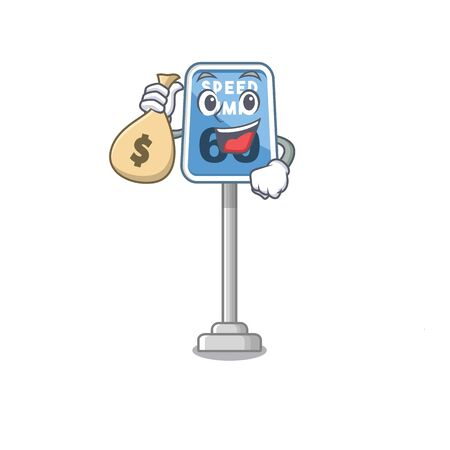 With money bag speed limit with the character shape vector illustration