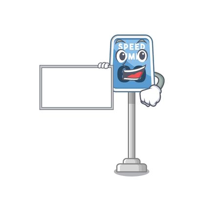 With board speed limit with the character shape vector illustration