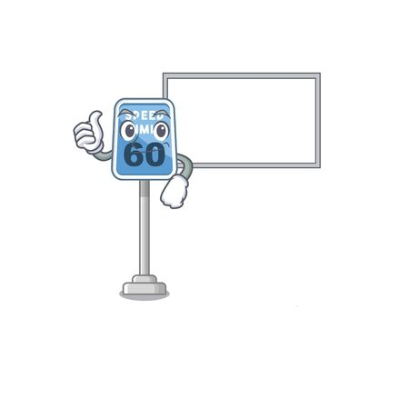 Thumbs up with board speed limit with the character shape vector illustration