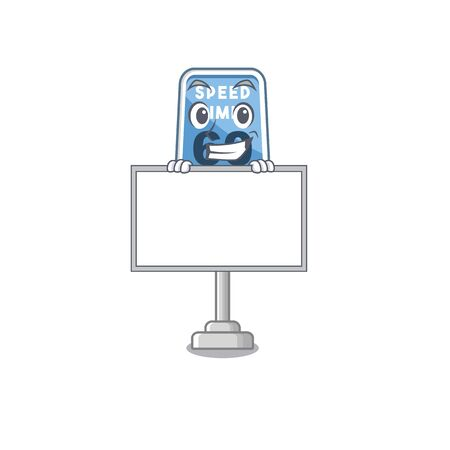 Grinning with board speed limit with the character shape vector illustration Illustration