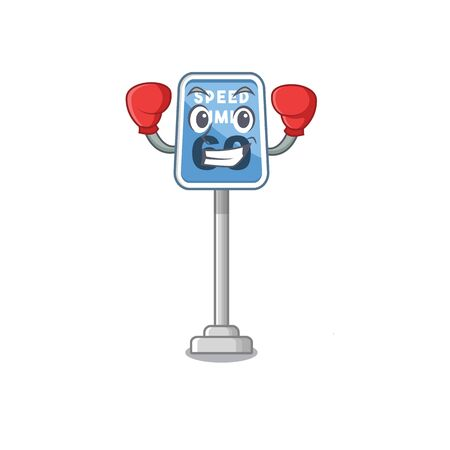 Boxing speed limit with the character shape vector illustration  イラスト・ベクター素材