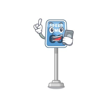 With phone speed limit with the character shape vector illustration
