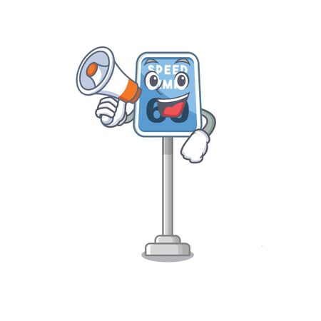 With megaphone speed limit with the character shape vector illustration