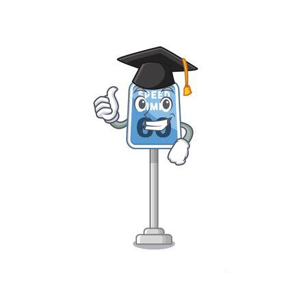 Graduation speed limit at edge of cartoon road vector illustration