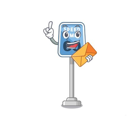 With envelope speed limit at edge of cartoon road vector illustration Stock Illustratie